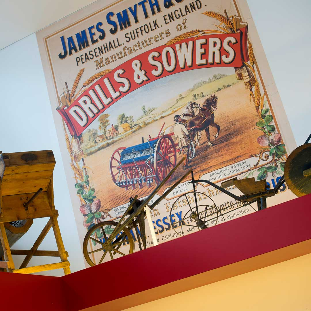 Drills & Sowers poster alongside artefacts in MERL Gallery